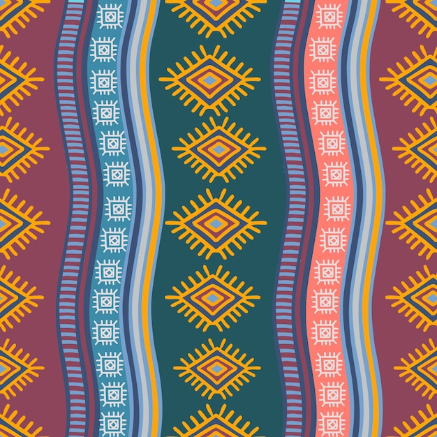 Modello senza cuciture tribale disegnato a mano con stile di disegno etnico Vettore Premium