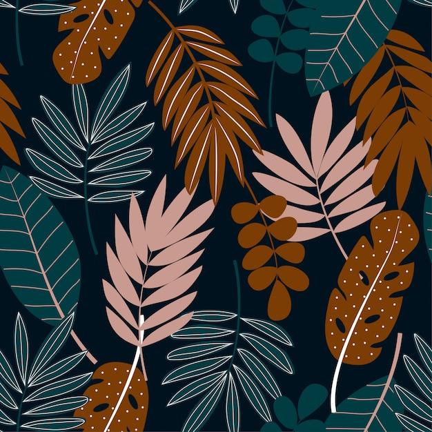 Modello senza cuciture tropicale con foglie su oscurità Vettore Premium