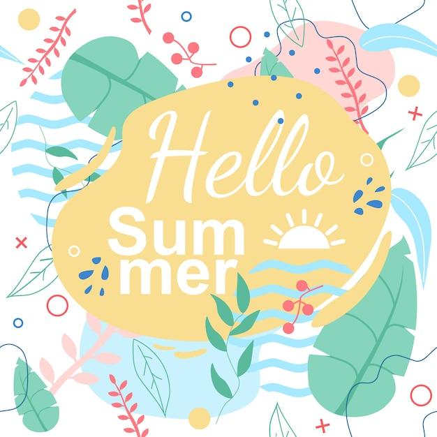Modello senza cuciture tropicale con hello summer title Vettore Premium