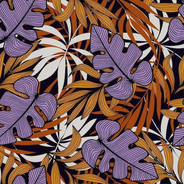 Modello senza cuciture tropicale con piante e foglie viola e arancioni Vettore Premium