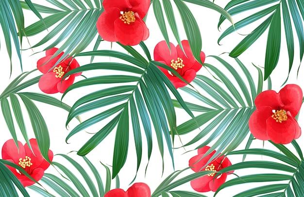 Modello senza cuciture tropicale dei fiori e delle foglie di palma di vettore. Vettore Premium