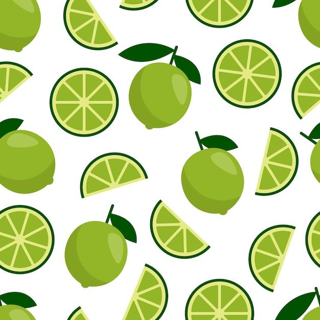 Modello senza cuciture verde lime, agrumi freschi per cocktail estivo. Vettore Premium
