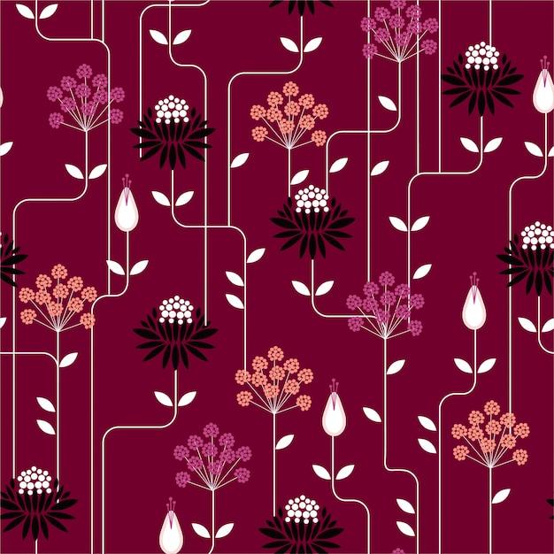 Modello senza giunte di fiore retrò in stile vintage ripetizione. design per la moda su tessuti, tessuti, carta, carta da parati e tutte le stampe Vettore Premium