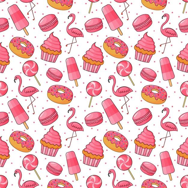 Modello senza saldatura carino panetteria e caramelle. dolci per caffè o pasticceria. illustrazione vettoriale. Vettore Premium