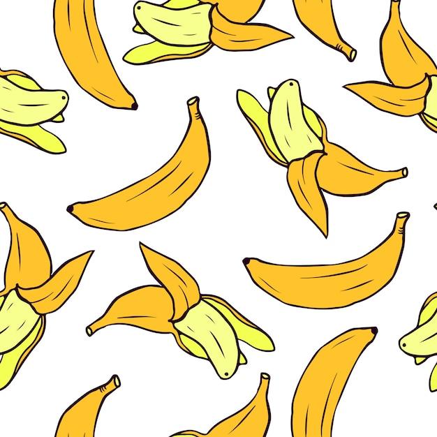 Modello senza saldatura con banane vector seamless texture per sfondi, riempimenti a motivo Vettore Premium