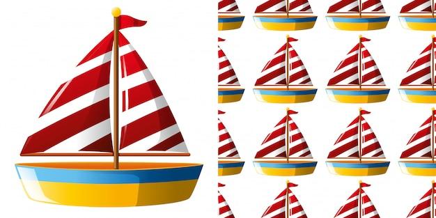 Modello senza saldatura con barca a vela giocattolo Vettore Premium