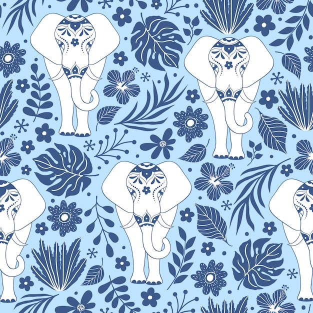 Modello senza saldatura con elefanti e fiori tropicali Vettore Premium