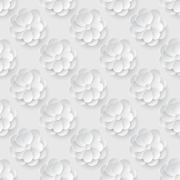 Modello senza saldatura con fiori di carta bianca. Vettore Premium