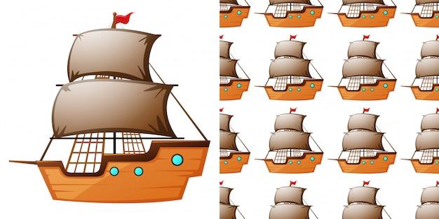 Modello senza saldatura con navi in legno Vettore Premium