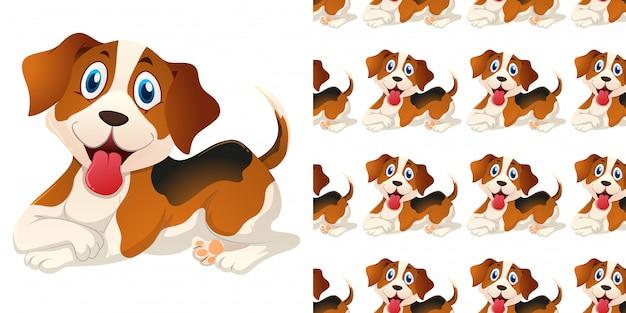 Modello senza saldatura con simpatico cane Vettore Premium