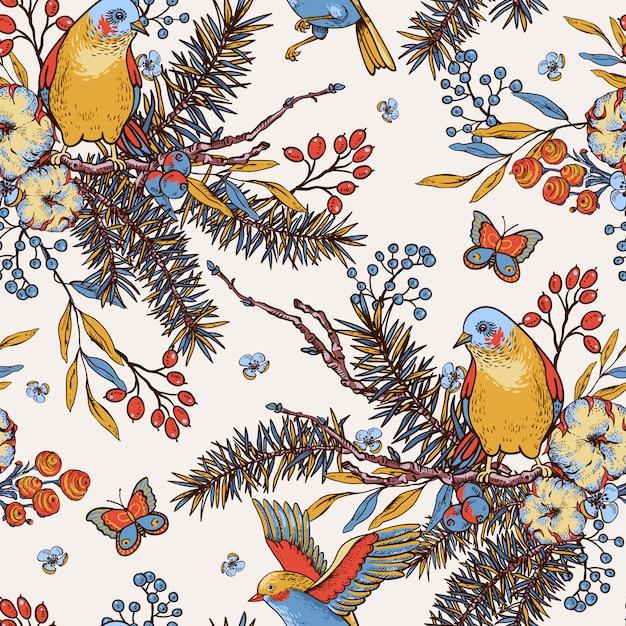 Modello senza saldatura primavera floreale vintage con uccelli, rami di abete, cotone, fiori e farfalle Vettore Premium
