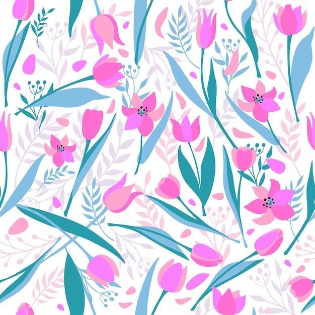 Modello senza saldatura vettoriale di tulipani eleganti carini. Vettore Premium