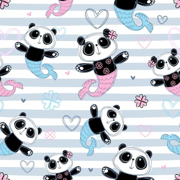 Modello senza soluzione di continuità panda sirena su disegno a strisce. Vettore Premium