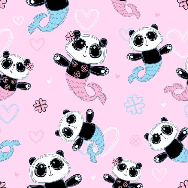 Modello senza soluzione di continuità sirena di panda carino su sfondo rosa Vettore Premium