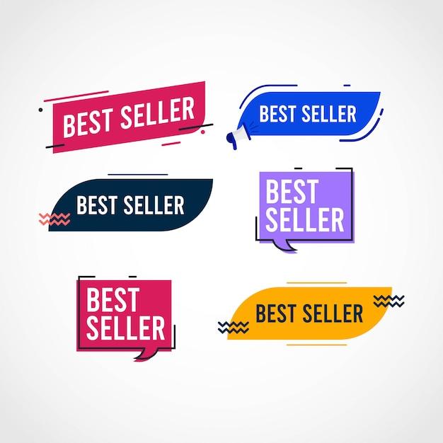 Modello set tag best seller. Vettore Premium
