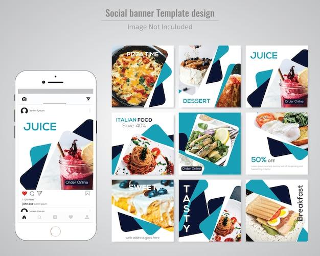 Modello sociale dell'alimento di media dell'alimento per il ristorante Vettore Premium