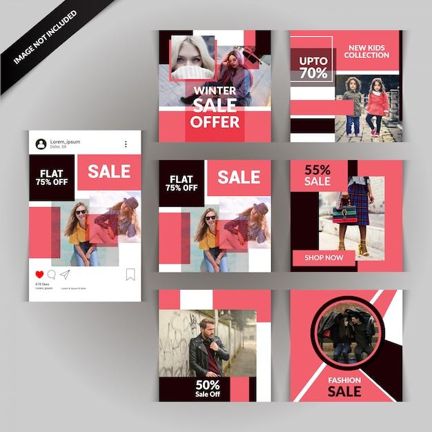 Modello sociale di media sociali di fotografia Vettore Premium