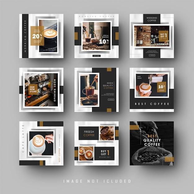 Modello sociale nero minimalista della caffetteria dell'insegna della posta dell'alimentazione di instagram di media sociali neri Vettore Premium