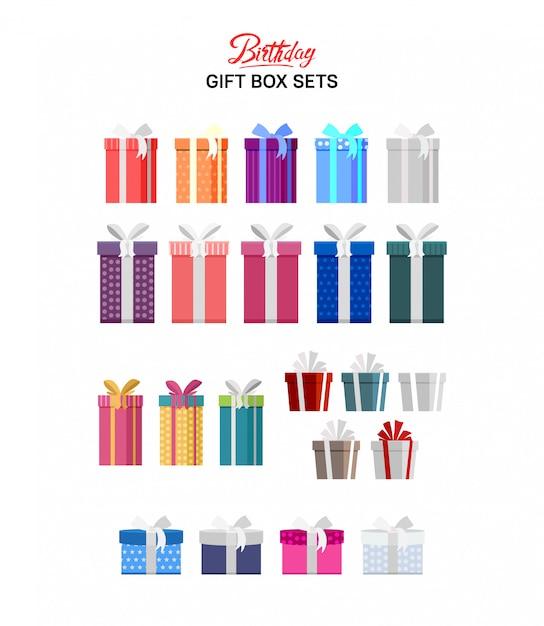 Modello stabilito del contenitore di regalo di compleanno Vettore Premium
