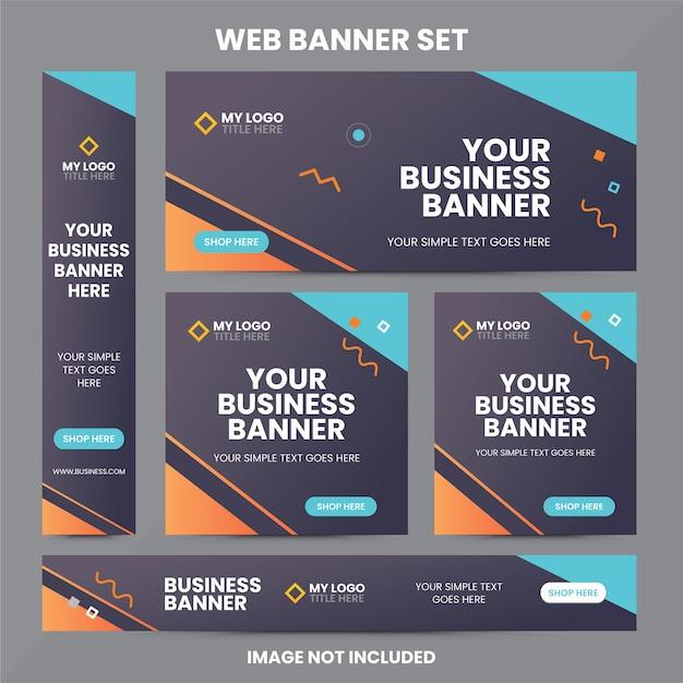 Modello stabilito dell'annuncio moderno dell'insegna di web Vettore Premium