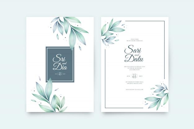 Modello stabilito dell'invito di nozze con l'acquerello delle belle foglie Vettore Premium