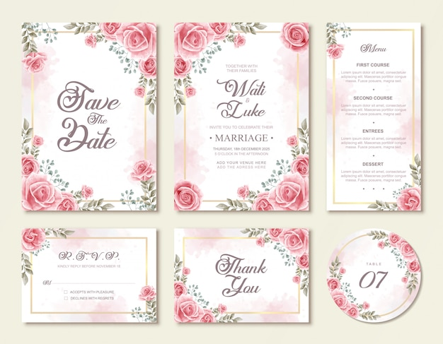 Modello stabilito dell'invito di nozze floreale dei bei fiori rosa dell'acquerello Vettore Premium