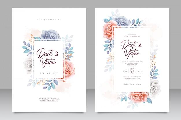 Modello stabilito della carta dell'invito di nozze con bei floreale e foglie Vettore Premium