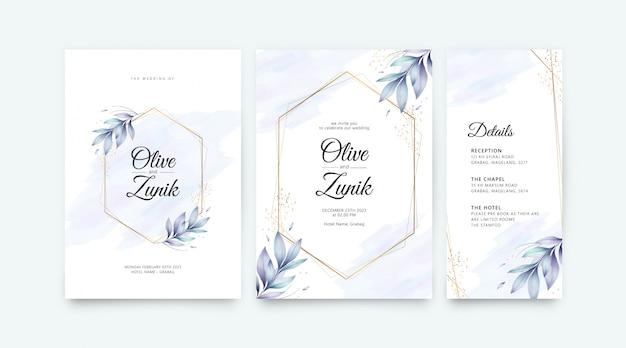 Modello stabilito della partecipazione di nozze con l'acquerello geometrico dorato delle foglie e dei fiori Vettore Premium