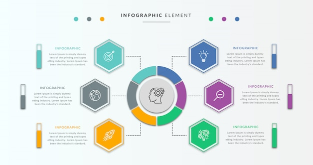 Modello struttura infografica con cerchio e sei grafici Vettore Premium