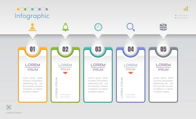 Modello struttura infografica con cinque passaggi Vettore Premium