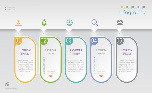 Modello struttura infografica con icone Vettore Premium