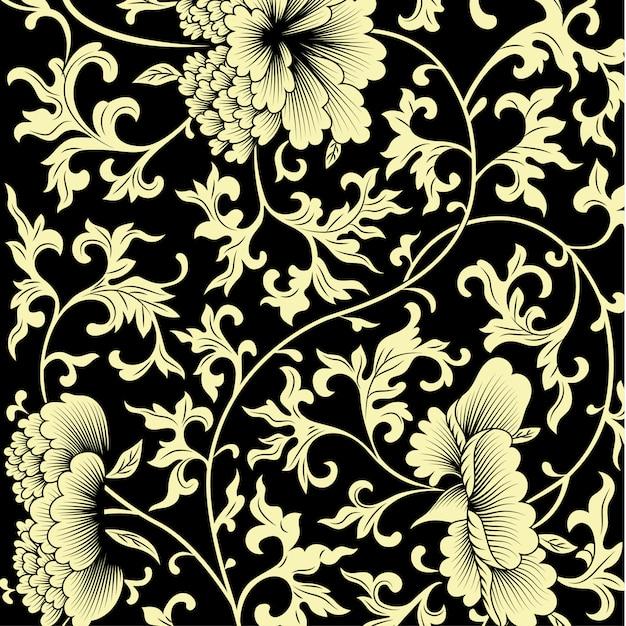 Modello su sfondo nero con fiori cinesi. Vettore Premium