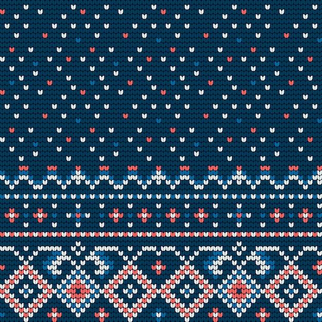 Modello tradizionale a maglia per maglione brutto Vettore Premium