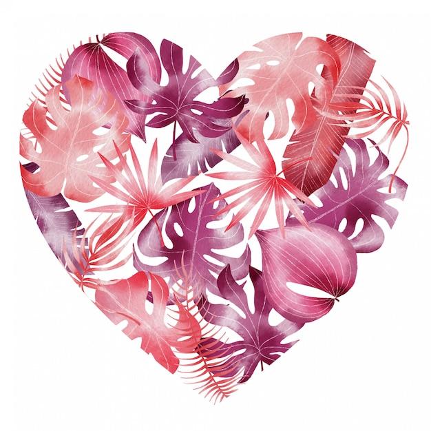 Modello tropicale delle foglie dei biglietti di s. valentino dell'acquerello dipinto a mano nella forma del cuore Vettore Premium