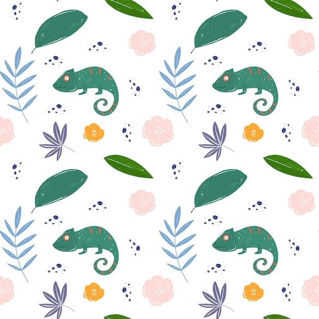 Modello tropicale di foglie e hameleons Vettore Premium