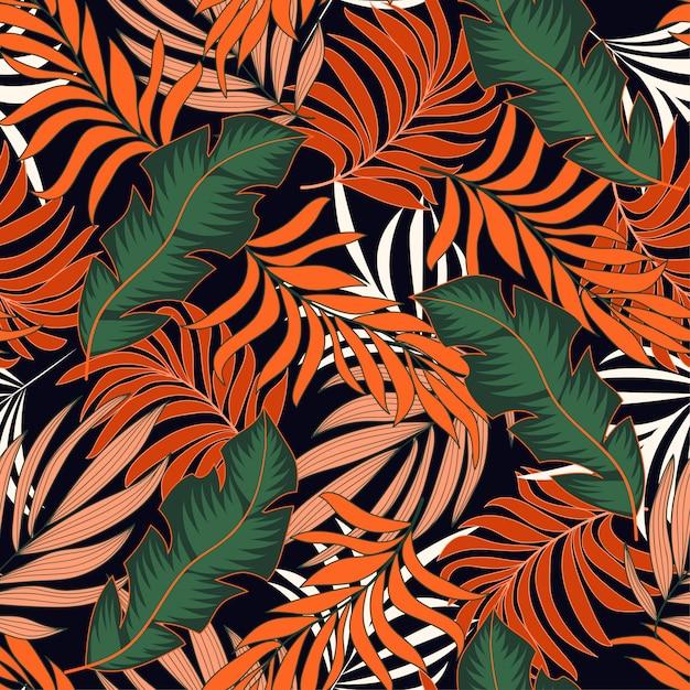 Modello tropicale senza cuciture d'avanguardia con foglie e piante di arancio e verde brillante Vettore Premium