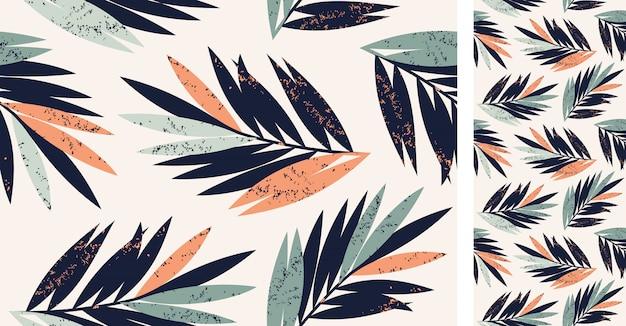 Modello tropicale senza cuciture di vettore con le foglie di palma Vettore Premium