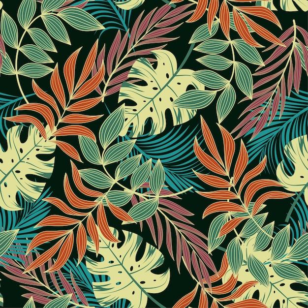 Modello tropicale senza cuciture originale con foglie e piante di arancio brillante Vettore Premium