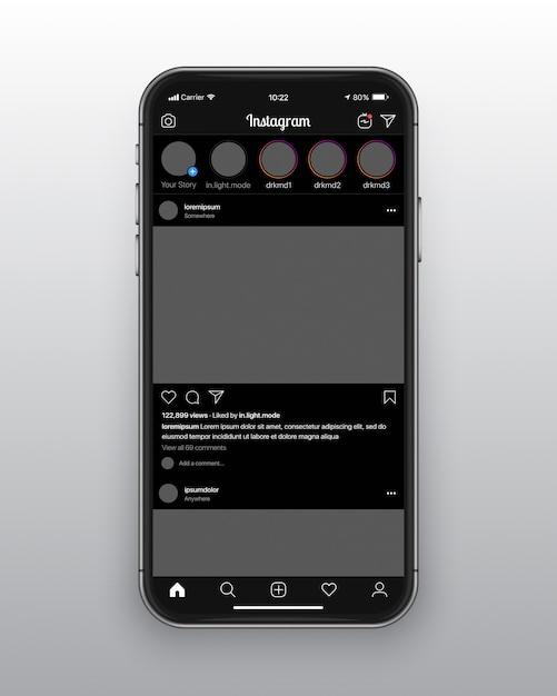 Modello ux ui modalità oscura di instagram Vettore Premium
