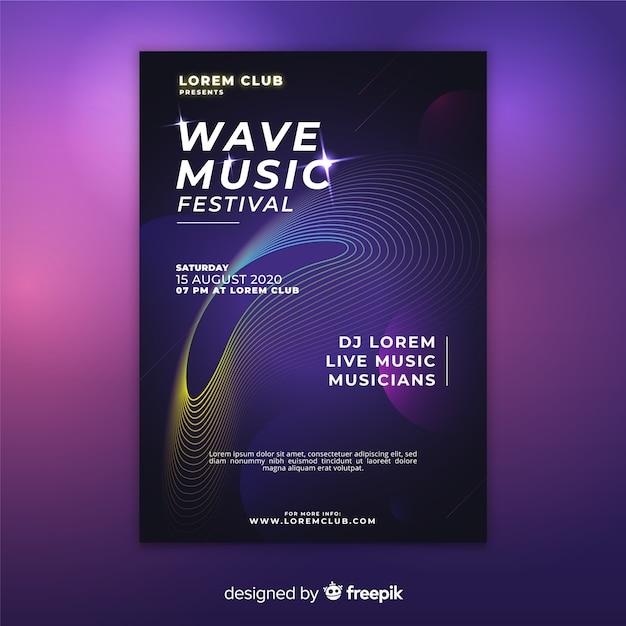 Modello variopinto del manifesto di musica delle onde dell'estratto Vettore gratuito
