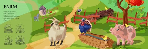 Modello variopinto dell'azienda agricola del fumetto con gli animali svegli sul paesaggio della campagna e coltivare gli emblemi di stile monocromatico Vettore gratuito