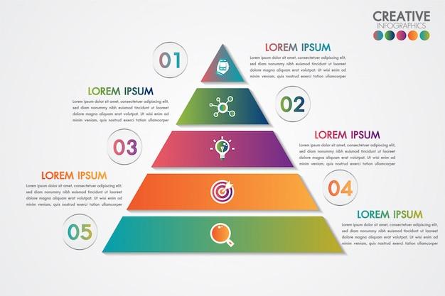 Modello variopinto di infographics della piramide con 5 punti o concetto di opzioni. Vettore Premium