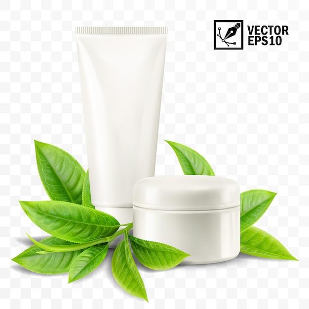 Modello, vaso e tubo isolati realistici 3d con crema cosmetica, tè o foglie di menta Vettore Premium