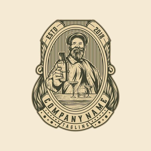 Modello vecchio di birra vintage logo Vettore Premium