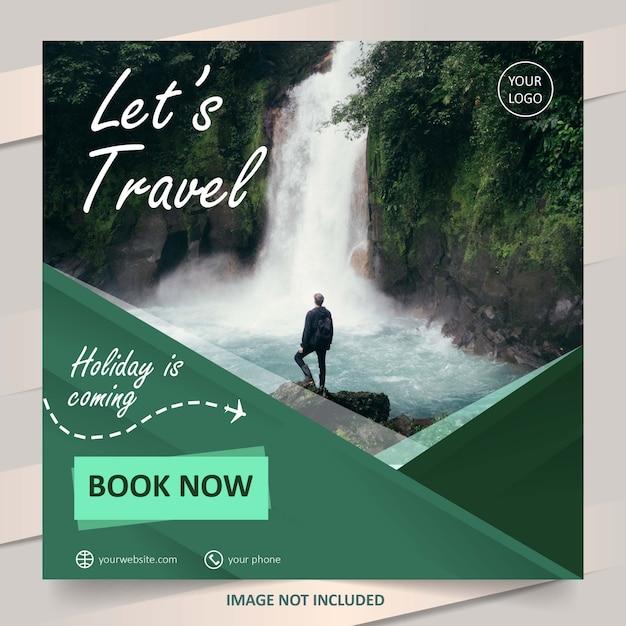 Modello verde dell'insegna di vendita di viaggio di social media Vettore Premium