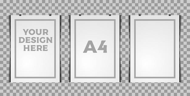 Modello verticale a tre poster Vettore Premium