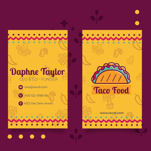 Modello verticale del biglietto da visita del ristorante dell'alimento di taco Vettore gratuito