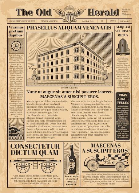 Modello vettoriale giornale d'epoca con testo di carta da giornale. illustrazione di carta antica per la stampa di articoli Vettore Premium
