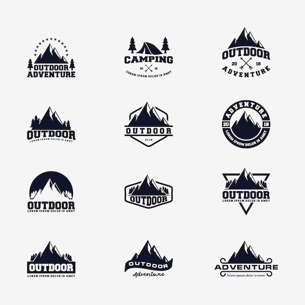 Modello vettoriale logo avventura montagna all'aperto Vettore Premium