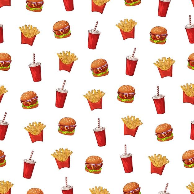 Modello vettoriale sul tema fast food: patatine fritte, bevande, hamburger. Vettore Premium